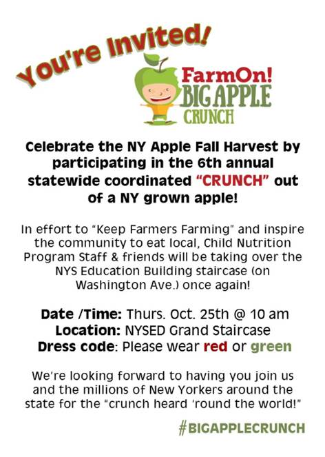 Big Apple Crunch October 25, 2018 at 10am. NYSED Grand Staircase. Please wear red or green.